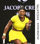 Small photo of MELBOURNE, AUSTRALIA - JANUARY 30, 2016: Twenty one times Grand Slam champion Serena Williams in action during her final match at Australian Open 2016 at Australian tennis center in Melbourne Park