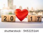 wooden number blocks 2017 with...   Shutterstock . vector #545225164
