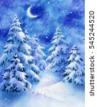 Watercolor Winter Night Forest...