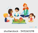 Female teacher tells fairy tales using pop-up book, children sit on floor in circle and listen to her. Preschool activities and early childhood education. Vector illustration for poster, website. | Shutterstock vector #545263198