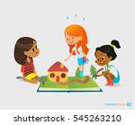 three young smiling girls sit... | Shutterstock .eps vector #545263210