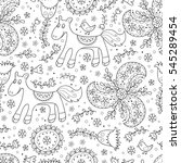floral forest vector seamless... | Shutterstock .eps vector #545289454