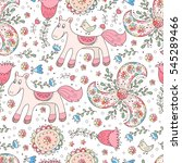 floral forest vector seamless... | Shutterstock .eps vector #545289466