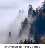 colorful foggy autumn thailand... | Shutterstock . vector #545294893