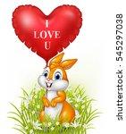 cartoon rabbit holding red... | Shutterstock .eps vector #545297038