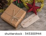 brown gift box with text label...   Shutterstock . vector #545300944