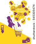 internet online shopping. young ... | Shutterstock . vector #545305474