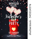 valentine's day party poster.... | Shutterstock .eps vector #545314576
