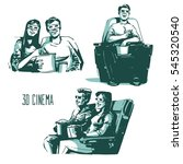 happy couple sitting in movie... | Shutterstock .eps vector #545320540