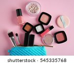 cosmetic bag and makeup... | Shutterstock . vector #545335768