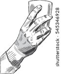 hand with glass in engraving...   Shutterstock .eps vector #545346928