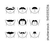set of vector hipster mustaches | Shutterstock .eps vector #545355256