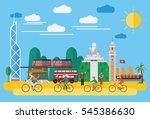 flat design  happy family... | Shutterstock .eps vector #545386630