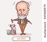 The Russian scientist and physiologist Ivan Pavlov with a grey dog