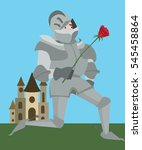 knight in armour with red rose... | Shutterstock .eps vector #545458864