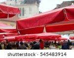 traditional red umbrellas on... | Shutterstock . vector #545483914