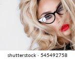 portrait of a beautiful blond... | Shutterstock . vector #545492758