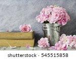 pink carnation flowers in zinc...   Shutterstock . vector #545515858