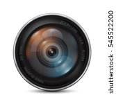 camera photo lens on a white...