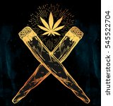 two crossed weed joints or... | Shutterstock .eps vector #545522704