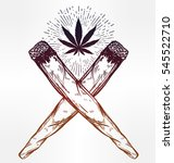 two crossed weed joints or... | Shutterstock .eps vector #545522710
