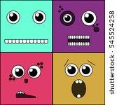 monster faces vector... | Shutterstock .eps vector #545524258