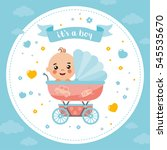 it's a boy shower card.... | Shutterstock .eps vector #545535670