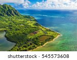 aerial view of kualoa point at... | Shutterstock . vector #545573608