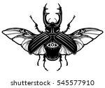 horned bug. the linear drawing... | Shutterstock .eps vector #545577910