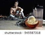 protein shake vanilla flavor... | Shutterstock . vector #545587318