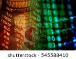 digital binary data on computer ... | Shutterstock . vector #545588410