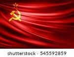 ussr  flag of silk  3d... | Shutterstock . vector #545592859