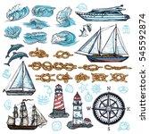 marine sketch set of ship boat... | Shutterstock .eps vector #545592874