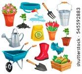 garden set with pail watering...   Shutterstock .eps vector #545592883
