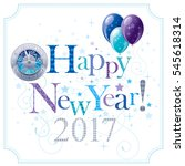 happy new year 2017 blue logo... | Shutterstock .eps vector #545618314