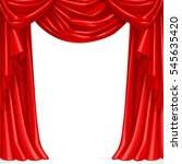 big red curtain draped with... | Shutterstock .eps vector #545635420