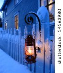 A Red Oil Lamp In Christmas Time