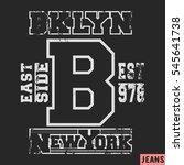 t shirt print design. brooklyn... | Shutterstock .eps vector #545641738