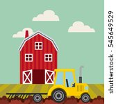 red barn and yellow tractor... | Shutterstock .eps vector #545649529