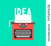 typewriter with idea text on... | Shutterstock . vector #545649628