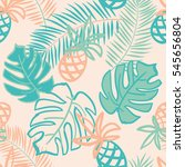 palm leaves and pineapples.... | Shutterstock .eps vector #545656804