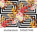 seamless summer tropical... | Shutterstock .eps vector #545657440