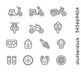 set of motorcycle related line... | Shutterstock .eps vector #545669404