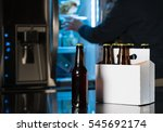 six pack of brown beer bottles... | Shutterstock . vector #545692174