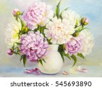 Peony Pink Flowers In A White...