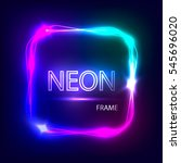 neon square glowing frame.... | Shutterstock . vector #545696020