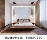 modern bedroom with 3d panels...   Shutterstock . vector #545697880