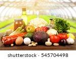 various foodstuff on wooden...   Shutterstock . vector #545704498