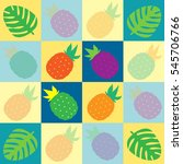 tropical pineapples and palms... | Shutterstock .eps vector #545706766