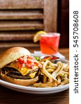 a double cheeseburger on a... | Shutterstock . vector #545708608